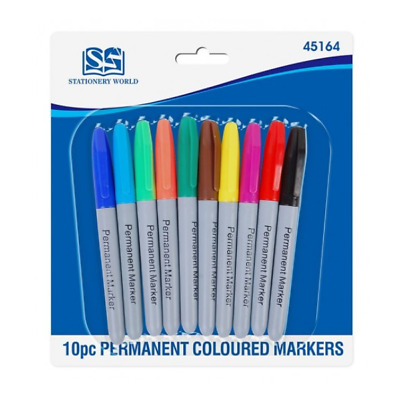 Permanent Marker Pens Assorted Multi Colour Sharpie Fine Point Tip 10 Pack