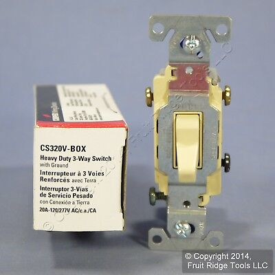 Cooper Electric Ivory COMMERCIAL Toggle Wall Light Switch 3-WAY 20A CS320V Boxed
