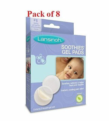 Lansinoh Soothies Gel Pads for Breastfeeding Mothers Pain Relief 2Ea(Pack of 8)