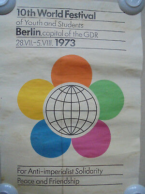 29885 2x Plakat DDR 1973 A2 Berlin poster GDR  10th world festival of youth