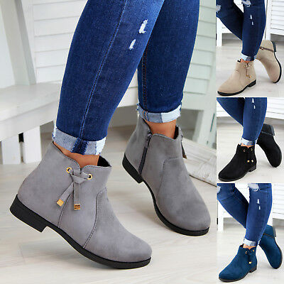 New Womens Ladies Ankle Boots Bow Zip Low Heel Casual Flat Shoes Sizes 3-8