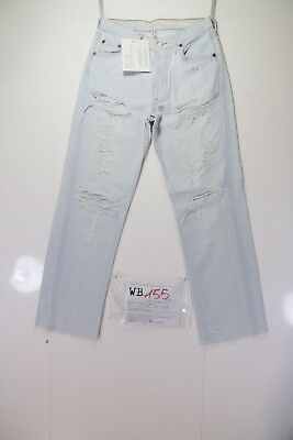 Levis 501 Denim Customized (cod. WB155) jeans tg.42 W28 DONNA Strappato Remake