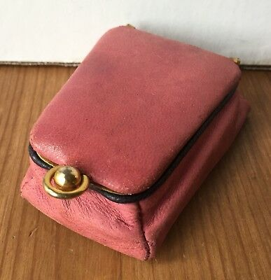 Vintage Leather School Florence Italy Small Pink Coin Purse Jewelry Box