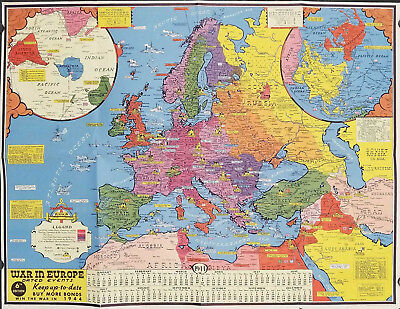 1944 Turner World Map During World War Ii 495 00 Picclick