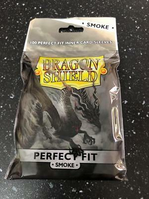 100 Bustine Protettive  PERFECT FIT Smoke - Dragon Shield - Magic Pokemon FOW
