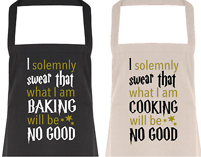 I SOLEMNLY SWEAR Cotton APRON, Funny Gift/Present, Baking/Chef, Wizard, Potter