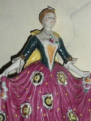 "Vtg 8"" Tall Colonial Lady Woman Art Deco Pattern Magenta Pink Dress Occ. Japan"