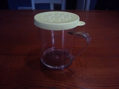 Tablecraft Clear Plastic Dredge Shaker Made in USA Yellow top Red Pepper Cheese
