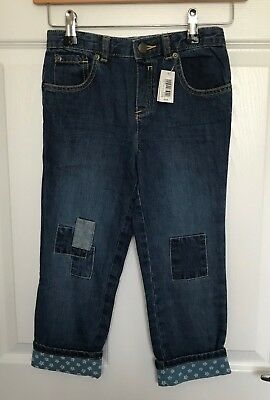 BNWT Boys CATH KIDSTON Patch Jeans With Star Turn Ups - Size 4-5 Years