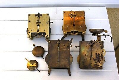 4 Good German Antique Working Clock Movements For Spares Or Repair