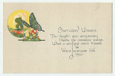Birthday Wishes Postcard Butterfly And Flowers Art Vintage Unused Greeting