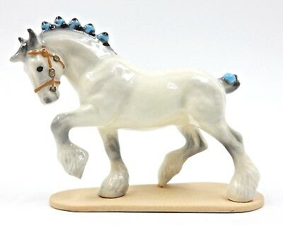 Hrcc Hagen Renaker Clydesdale White Draft Horse W/blue Ribbons 1 Of 221 Made