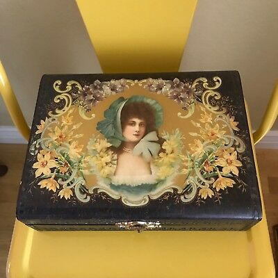 Antique Victorian Celluloid Silk-Lined Hinged Vanity Glove Box Feminine Woman