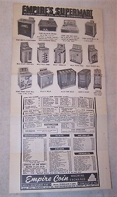 1950s Sales Brochure - Empire Coin Machine Exchange - Slots, Mills, Bally, Evans