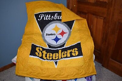Baby Crib Quilt M/W Pittsburgh Steelers Fabric