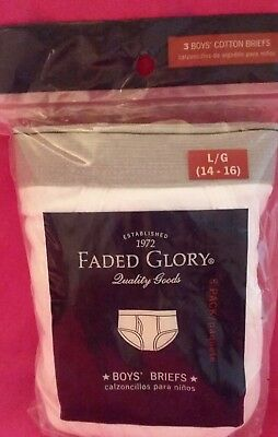 Faded Glory Boy's 3 Pair Pack White 100% Cotton Briefs/Underwear L large 14-16