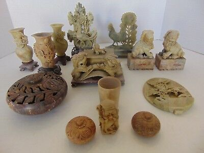 Collection Of 13 Soap Stone Vases, Animals, Incense Burner