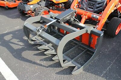 """Titan Implement 48"""" Single Cylinder Grapple For Compact Tractors Kubota B Series"""