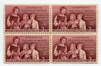 Teachers Honored on 61 Year Old Mint Vintage US Postage Stamp Block from 1957