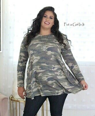 Plus Size Usa Green Camo Army Camouflage Boho Pockets Tunic Top Shirt 1X 2X 3X