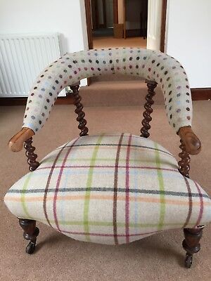 Antique Victorian Walnut Tub Chair (c.1840) Newly Upholstered