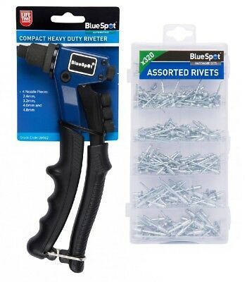 "8"" Compact Heavy Duty Rivet Gun & 320 Piece Assorted Blind Rivet Set 2.4-8mm Pop"