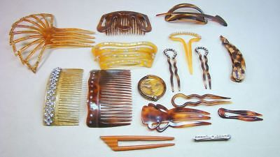 Estate Hair Combs Collection Deco Celluloid Jeweled Lot