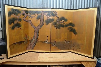 "Vintage Japanese Chinese 4 Panel Folding Screen Byobu Painted 73x36"" Gold Asian"