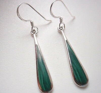 Drips of Malachite 925 Sterling Silver Dangle Earrings Corona Sun Jewelry
