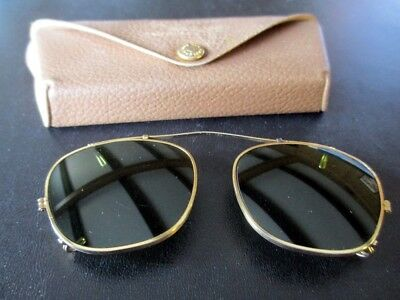 7c8d6593db Vintage Bausch Lomb Clip On Sunglasses Ray Ban BL 44 Case Green Tint Gold  Tone