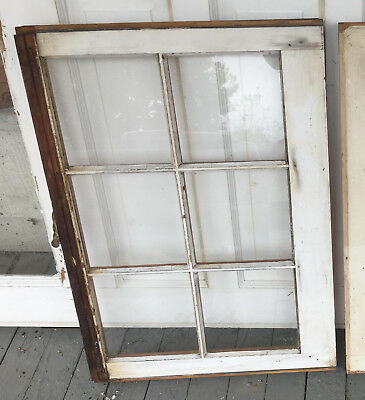 Wood Frame Window 6 Pane 28 x 20 vintage wooden sash picture six glass