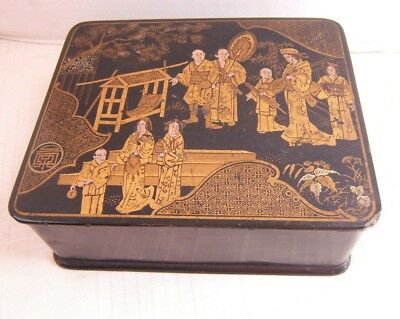 Antique Japanese Lacquer Box Black With Gold Gilding