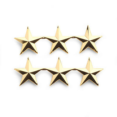 """Heros Pride 4472G Collar Brass Rank Insignia  - Pair Of 3 Star 1"""" Polished Gold"""