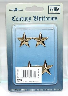 """Heros Pride 4471G Collar Brass Rank Insignia  - Pair Of 2 Star 1"""" Polished Gold"""