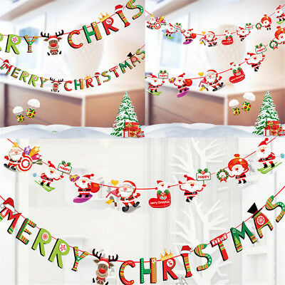 Merry Christmas Banner Felt Christmas Santa Flags Banner Hanging Decoration HE