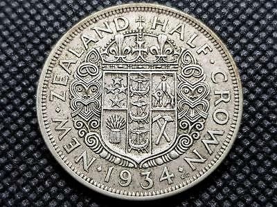 New Zealand Half Crown 1934 Silver Coin King George Fifth Kgv Coin
