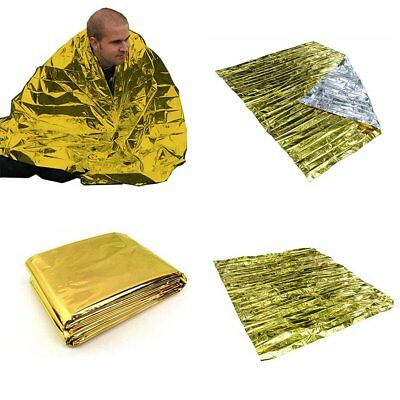 Foil Thermal Emergency Blanket First Aid Survival Rescue Waterproof Hike 2 Color