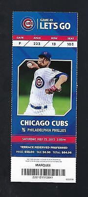 2015 Mlb Phillies @ Cubs Baseball Full Unused Ticket - Hamels No Hitter July 25