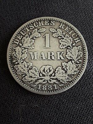 1881 silver 1 mark prussia coin circulated from collection