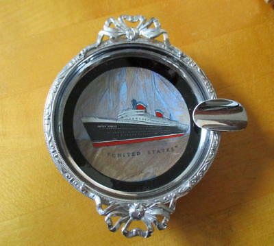 Vintage SS United States Metal Ashtray Ship Image under Glass