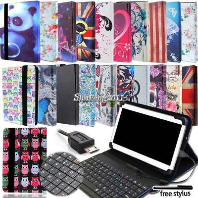 Universal Folio Leather Stand Cover Case With Keyboard For Tablets + Stylus