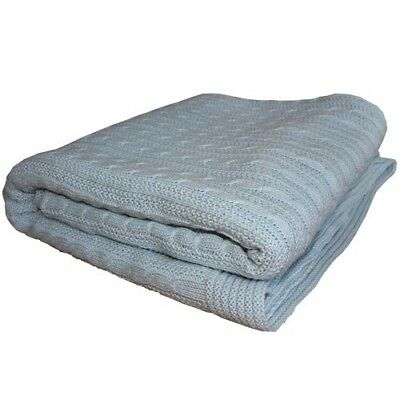 Brand New Cotton Knitted Blanket soft blue