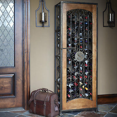 Personalized 96-Bottle Antiqued Steel and Wooden Accent Wine Jail