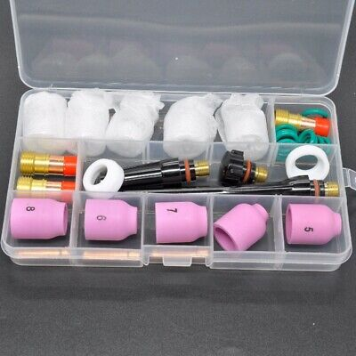 31 Pcs TIG Welding Torch Stubby Gas Lens #12 Pyrex Glass Cup Kit For WP-17/18/26