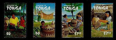 Tonga, Scott # 1074 - 1077, Set Of 4 Woman & Young Girl Weaving Baskets, Mnh