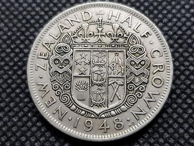 New Zealand Half Crown 1948 Coin King George Sixth Kgvi Coin