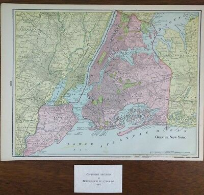 """Vintage 1902 GREATER NEW YORK Map Old Antique 14""""x11"""" BROOKLYN QUEENS KINGS MAPZ"""