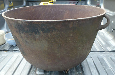 "Vintage Antique Cast Iron 94 LB 26""x17"" Footed Kettle cauldron 40 gallon planter"