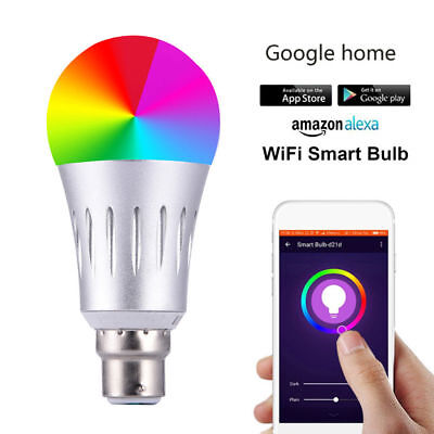 Alexa Google Home APP WiFi Smart LED Bulb 7W DimmableColor RGB Light E14 B22 E27