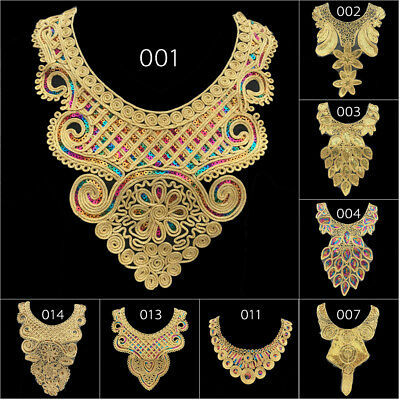 Gold Lace Embroidered Neckline Neck Collar Trim Sewing Applique DIY Crafts Tools